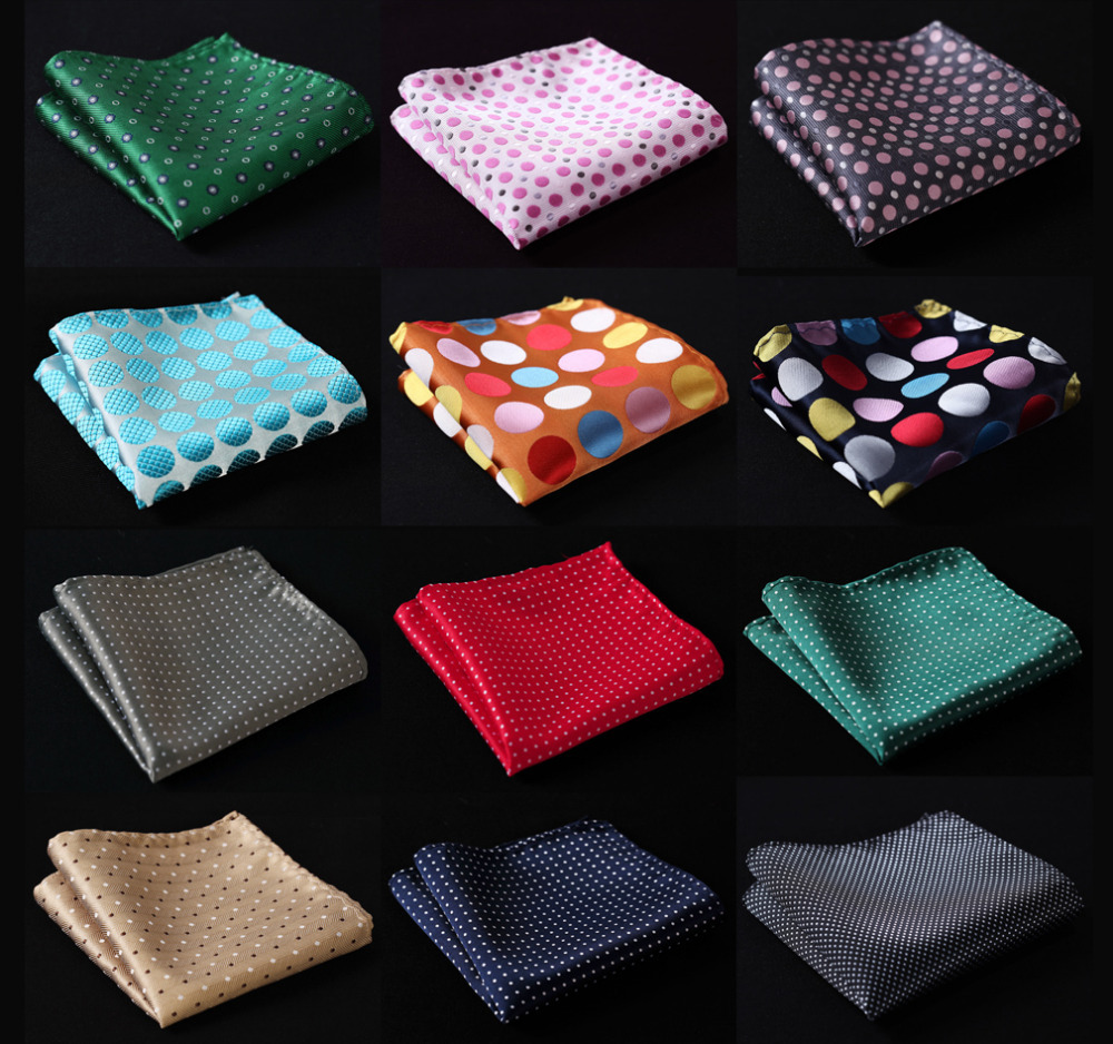 Polka Dot Men Silk Satin Pocket Square Hanky Jacquard Woven Classic Wedding Party Handkerchief #A2