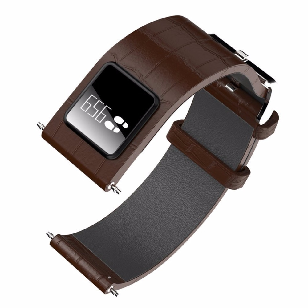цена на H1 20mm 22mm Watch Band with Smart Band Wristband Function Leather Watchband Straps Stainless Steel Silver Buckle Smartband