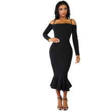 Hot Elegant Mid-calf Ruffles Mermaid Bodycon Women Party Dress Solid Off Shoulder Sexy Night Club Strap Female Lady Vestido Gown