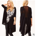 2015 summer new Chiffon t-shirts womens fashion Loose Skull print  Dovetail long tops clothing woman