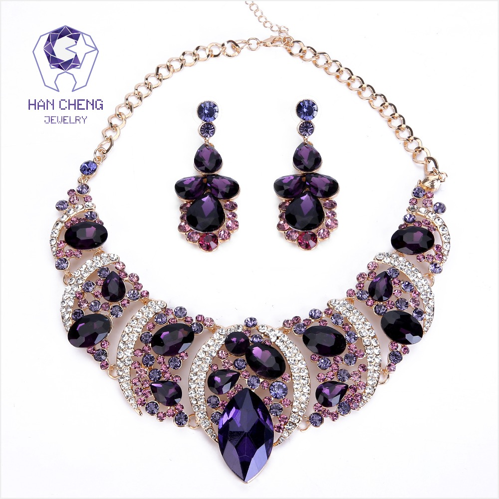 HanCheng Nw Fashion Bohemian Leaves Rhinestone Created Crystal Statement Pendant Necklace Women Jewelry leagtha Golden collier
