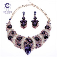 HanCheng Fashion Bohemian Leaves Rhinestone Created Crystal Drop Earrings Statement Necklace Women Jewelry Sets Golden Collier