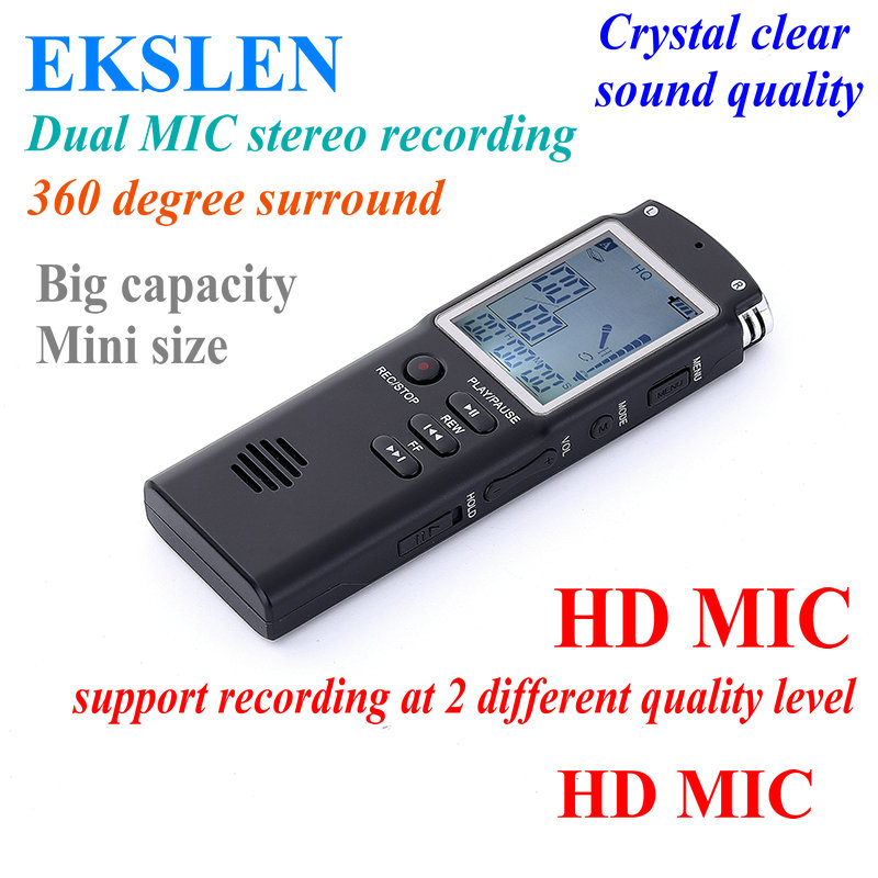 EKSLEN T60 Digital Audio/Voice Recorder Professional Handheld Digital Recorder Dictaphone Recording Pen for interview meeting