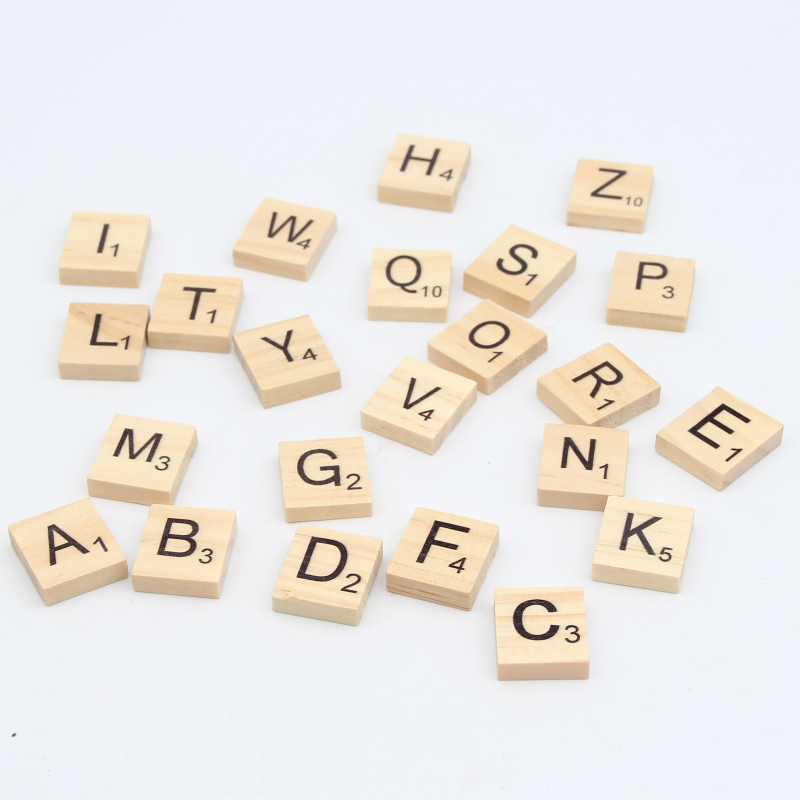 Wood Beads Nature Color Letter 100pcs Charm Random 18x20mm Mixed Alphabet Number Wooden Beads For Puzzle Kids Adult Scrabble Attractive Appearance Beads & Jewelry Making