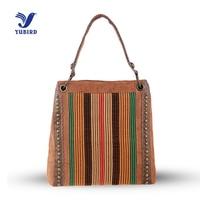 YUBIRD Leisure Women's Shoulder Bag Canvas Tote Bag Zipper Trapezoid Geometric Bag Rivet Large Ladies Handbags China bolso mujer