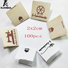 Sloobao 100 шт ручная работа с любовью моющиеся хлопчатобумажные бирки для одежды ручной работы печатные этикетки DIY этикетки типа «флажок» для швейной одежды