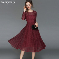 OL Women Black Lace Dresses Zomerjurken 2018 Dames Autumn Pleats Long Sleeved Midi Dress Sukienki Damskie K5309
