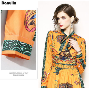 Image 5 - Runway Designer Maxi Dress Womens Elegant Beach Vacation Animal Printing Long Dress Bow Collar Floor Length Party Dresses