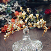 HIMSTORY Handmade Baroque Crown Wedding Leaf Headband Tiara Vintage Bridal Hair Piece Accessories Women Party Prom Hairband