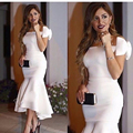 Long Arabic Style Evening Dresses 2016 Sexy Boat Neck Saudi Arabia Bow Dubai Mermaid White Women Formal Evening Gowns