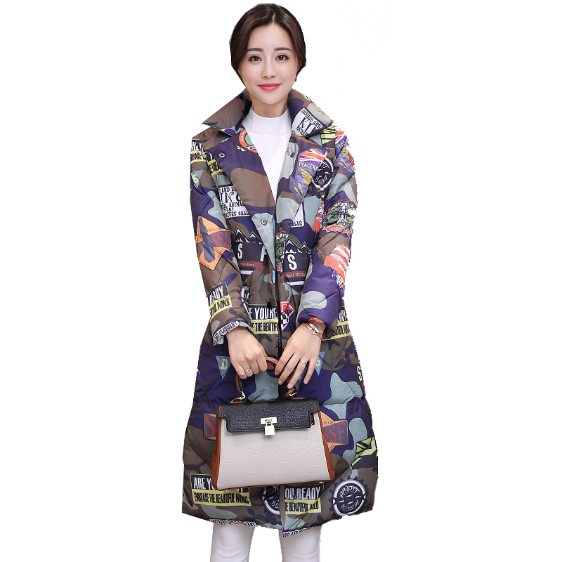 winter jackets women printing cotton-padded coats 2018 thicken warm down jacket coat female down jacket large size women clothes