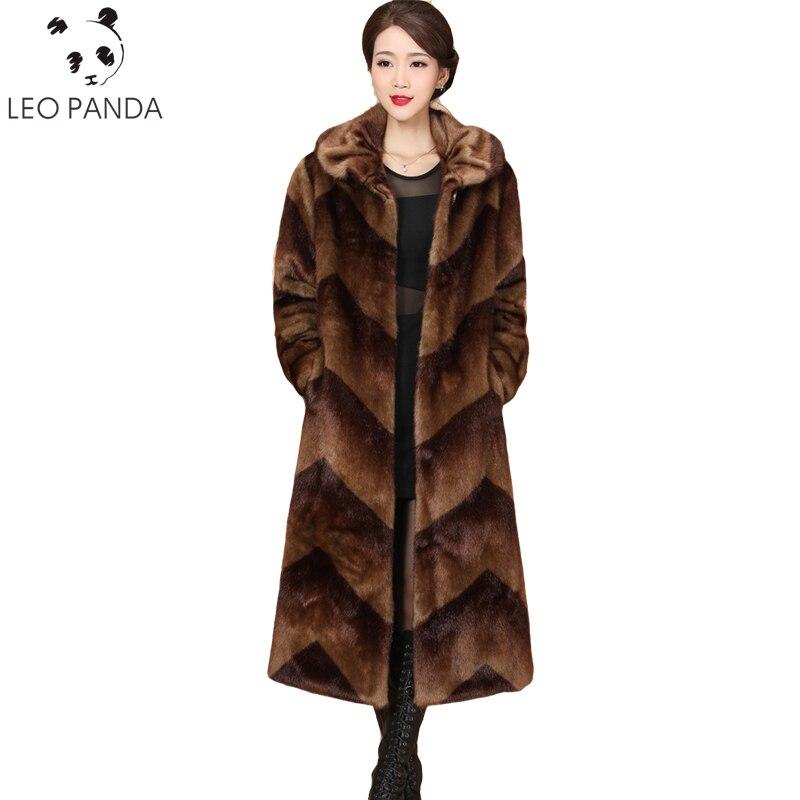 2019 nueva chaqueta de piel de visón para mujer abrigo de lujo de invierno abrigos de piel de moda talla grande suelto M 5XL grueso de piel caliente para mujer chaqueta Parka-in piel real from Ropa de mujer    1