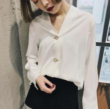 2017 spring Korean V collar high quality silk chiffon blouse unique button for aristocratic temperament women shirt