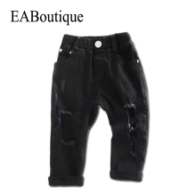 EABoutique 2017 New Casual Street Fashion children big hole black color skinny jeans for boys girls