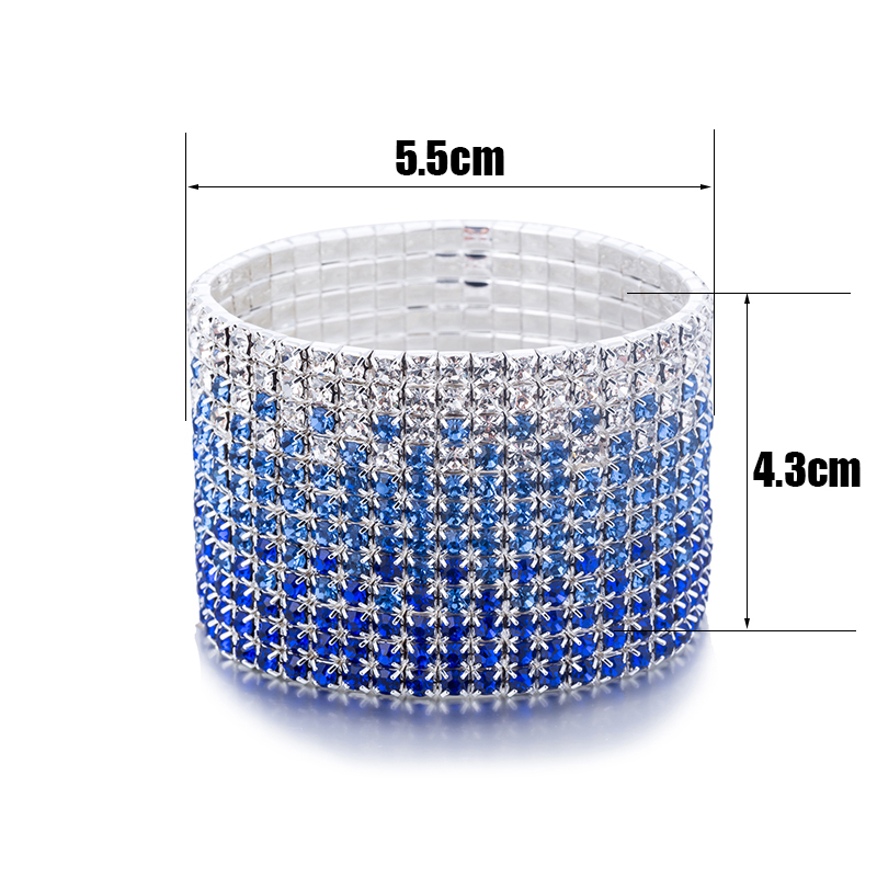 12 Rows Crystal Rhinestone Bangles Bracelet for Women Silver Plated Blue and Clear Crystal Combination Wedding Bracelet (4)