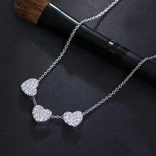 Красивые Подвески в форме сердца ожерелье с белым кристаллом