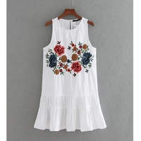 2017 women vintage flower embroidery pleated decoration mini dress elegant fashion brand sleeveless casual slim dress DS077