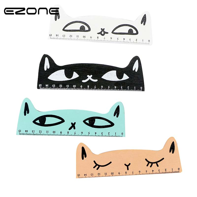 EZONE 1PC Cute Kawaii Cat Shape Ruler Wooden Rulers Funny Stationery Office School Stationery Supply School Escolar For Kids