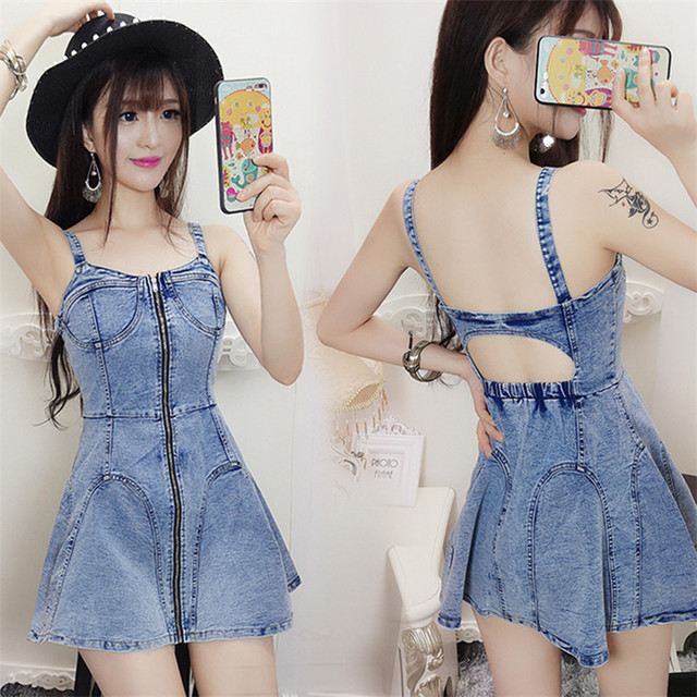 b876e9d8f2 hot sell young girl Sexy backless hollow out braces dress summer sleeveless  short denim dresses for night club party