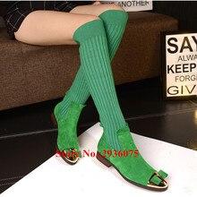 Осень новинка зимы ботинки с высоким голенищем стрейч вязаный носок из металла Кепки-Toe галстук-бабочку Ботильоны наборный Каблучки Slip-On женские сапоги женские