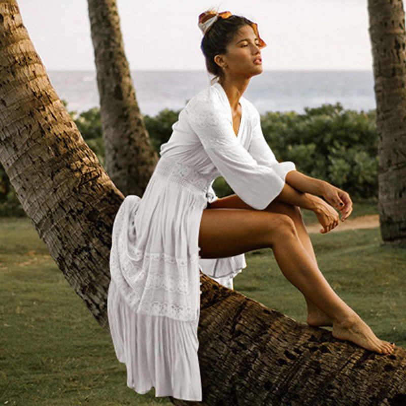 Mùa hè Đầm Maxi Đi Biển Plus Kích Thước Dài Đi Biển Đầm Và Áo Thun 2019 Sundress Đời Phong Cách Boho Nữ Với Tay Trắng quần áo