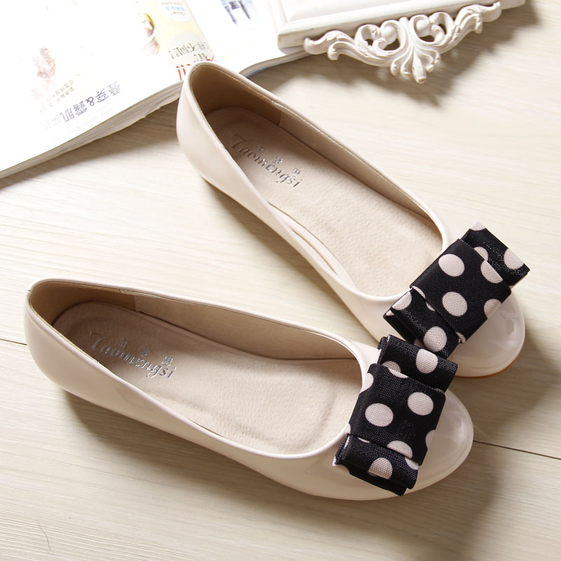 ФОТО Bow Women Flats Sweet Flat Shoes Round Toe Women Casual Shallow Mouth Shoes For Girls Plus Size 40-43
