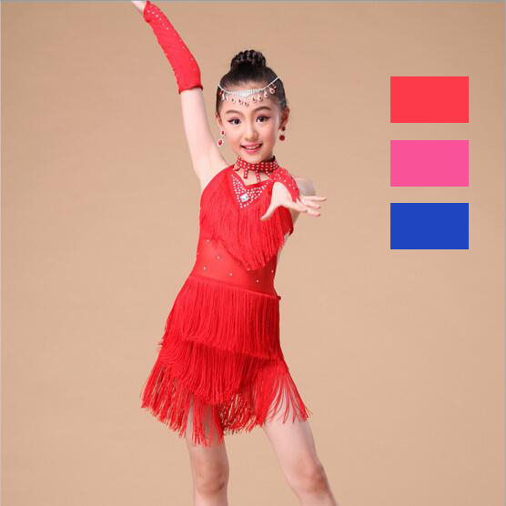 Latin Dance Kids Competition Costumes Bachata Junior Red Girls Fringe Latin Salsa Dresse ...