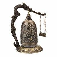Antique Home Decoration China Buddhism Brass Copper Carved Statue Lotus Buddha Dragon Bell Clock Bronze Buddhist Bells Artware.