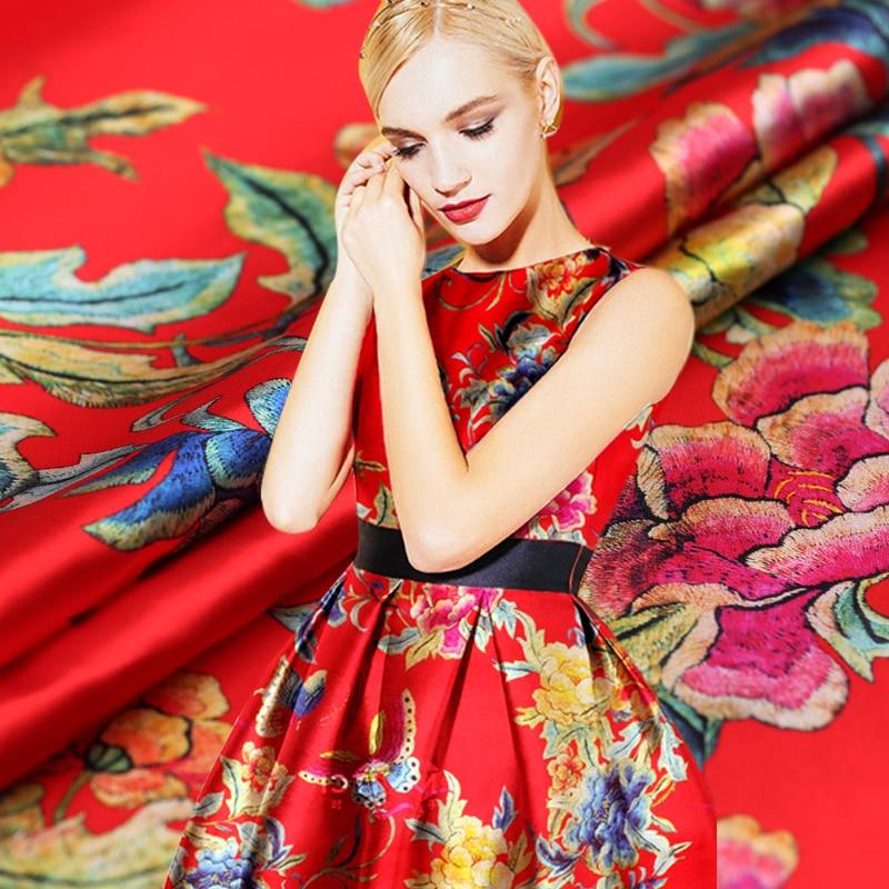 Splendor red peony heavy silk elastic digital inkjet silk satin fabric clothing cheongsam dress fabric Free Shipping
