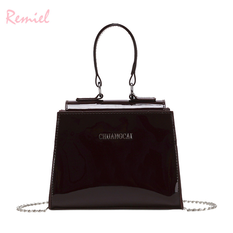 128de4b502 Women s Designer Handbag 2018 New High-quality Glossy Patent Leather Women  Chain Shoulder Messenger bag Ladies Small Tote bags