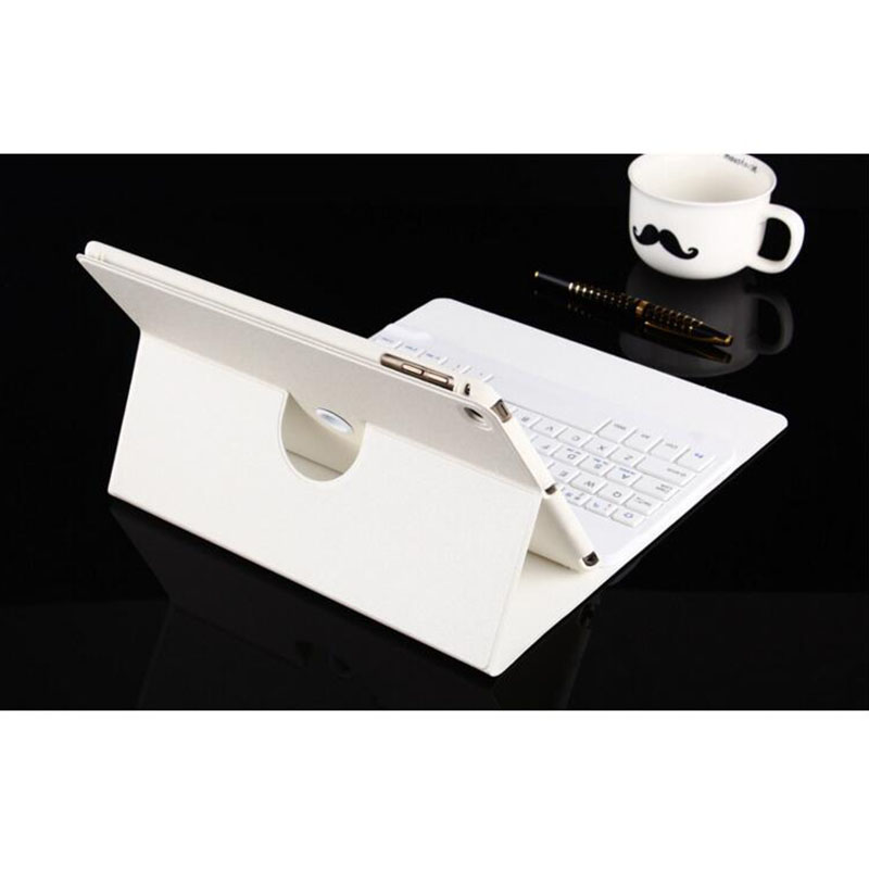 For Ipad Bluetooth keyboard 360 degree rotation removable ultra - thin For ipad mini 4 protective shell / sets protective pc back case w 360 degree rotation hand strap holder for ipad 3 4 white