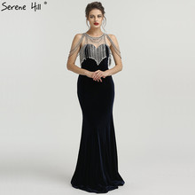 SERENE HILL Navy Blue Mermaid Beading Evening Dresses