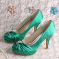 (20 Colors)Custom Handmade Green Shoes Women Satin Wedding Bridal Heels Party Pumps