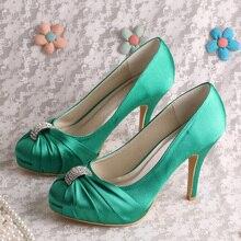 (20สี)ที่กำหนดเองที่ทำด้วยมือสีเขียวรองเท้าผู้หญิงซาตินจัดงานแต่งงานเจ้าสาวส้นพรรคปั๊ม