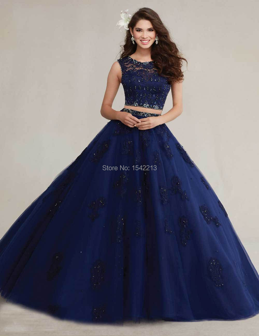 Aliexpress.com : Buy Navy Blue Pink Lace Beaded Quinceaneran Dress ...
