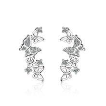 Bow Tie Zircon Sterling Silver Fashion Earrings Jewelry
