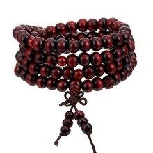 1Pcs 8mm Natürliche Sandelholz Buddhistischen Buddha Meditation Holz Gebetskette Mala Armband Armreifen Frauen Männer Schmuck 108 Perlen bijoux