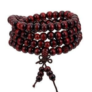 Image 1 - 1Pcs 8mm Natürliche Sandelholz Buddhistischen Buddha Meditation Holz Gebetskette Mala Armband Armreifen Frauen Männer Schmuck 108 Perlen bijoux