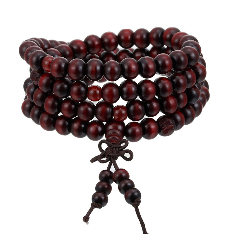 1Pcs 8mm Natural Sandalwood Buddhist Buddha Meditation Wood Prayer Bead Mala Bracelet Bangles Women Men Jewelry 108 Beads Bijoux