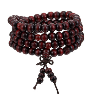 Image 1 - 1Pcs 8mm Natural Sandalwood Buddhist Buddha Meditation Wood Prayer Bead Mala Bracelet Bangles Women Men Jewelry 108 Beads Bijoux