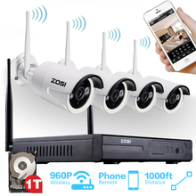 Sistema 4CH 960 P NVR 4 UNIDS ZOSI 1.3 MP IR Al Aire Libre P2P Inalámbrica Wifi IP CCTV Sistema de Vigilancia de Cámaras de Seguridad Kit de 1 TB HDD