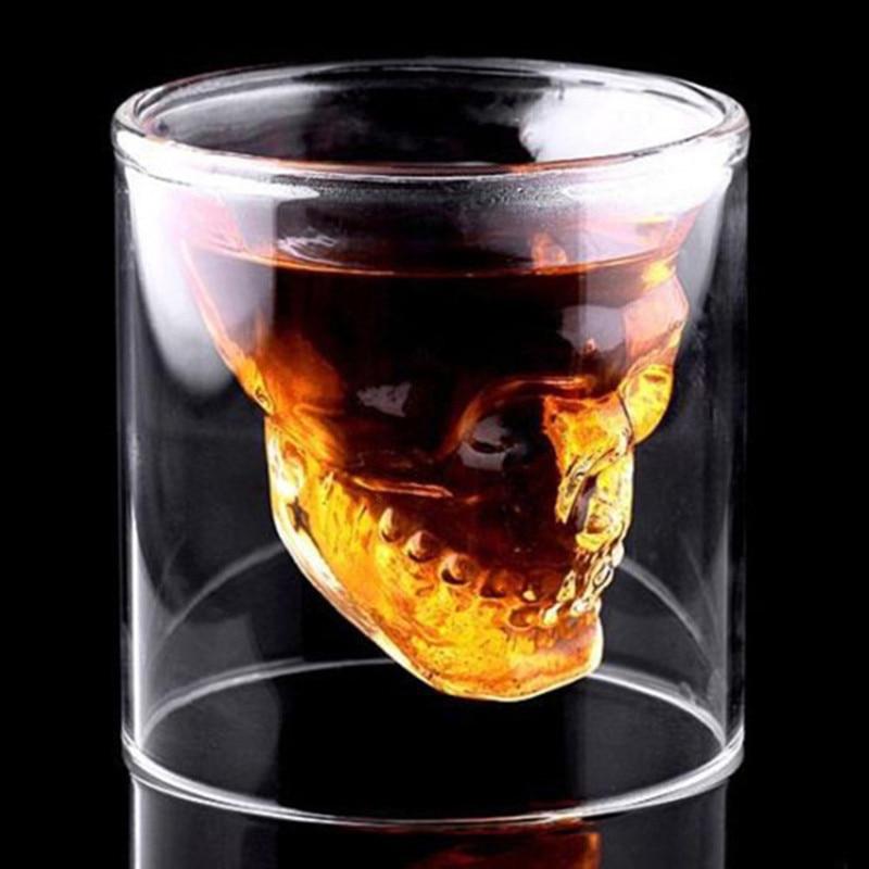 Creative 3 izmēri galvaskausa galvas vīna stikla dizainers kristāla viskijs degvīna shot stikla caurspīdīgs alus stikla kausi bāra kluba pusei