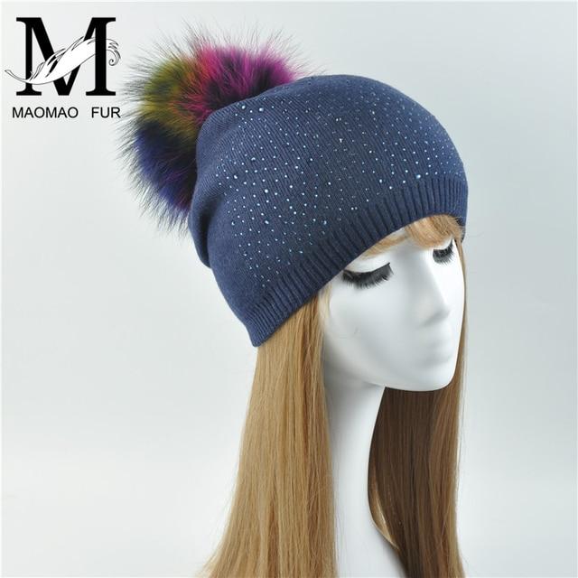 13413a06395 Women s Real Fur Pompon Hat Female Plain Warm Knit Beanie Hat Natural  Raccoon Fur Pom Pom
