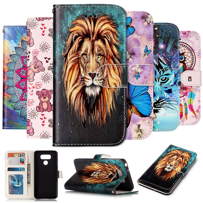 Fashion Colorful Painting Stand Flip Leather Case For LG G6 G 6 Cell Phone Cover Cases Wallet With Card Holder For LG K10 2017