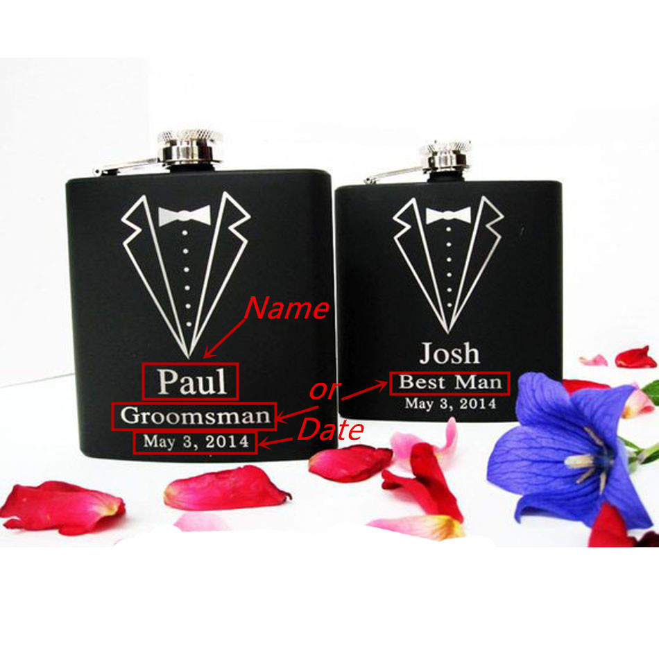 6oz Dinner suit design Personalized Hip Flask Custom black leather stainless steel Laser Engraved Gift for Him Groomsmen Gifts in Hip Flasks from Home Garden