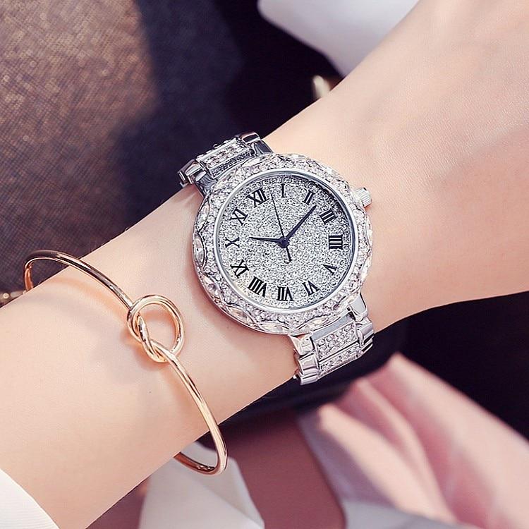 New Silver Diamond Watches Women Luxury Steel Full Rhinestone Wristwatches Lady Crystal Dress Watches Female Quartz
