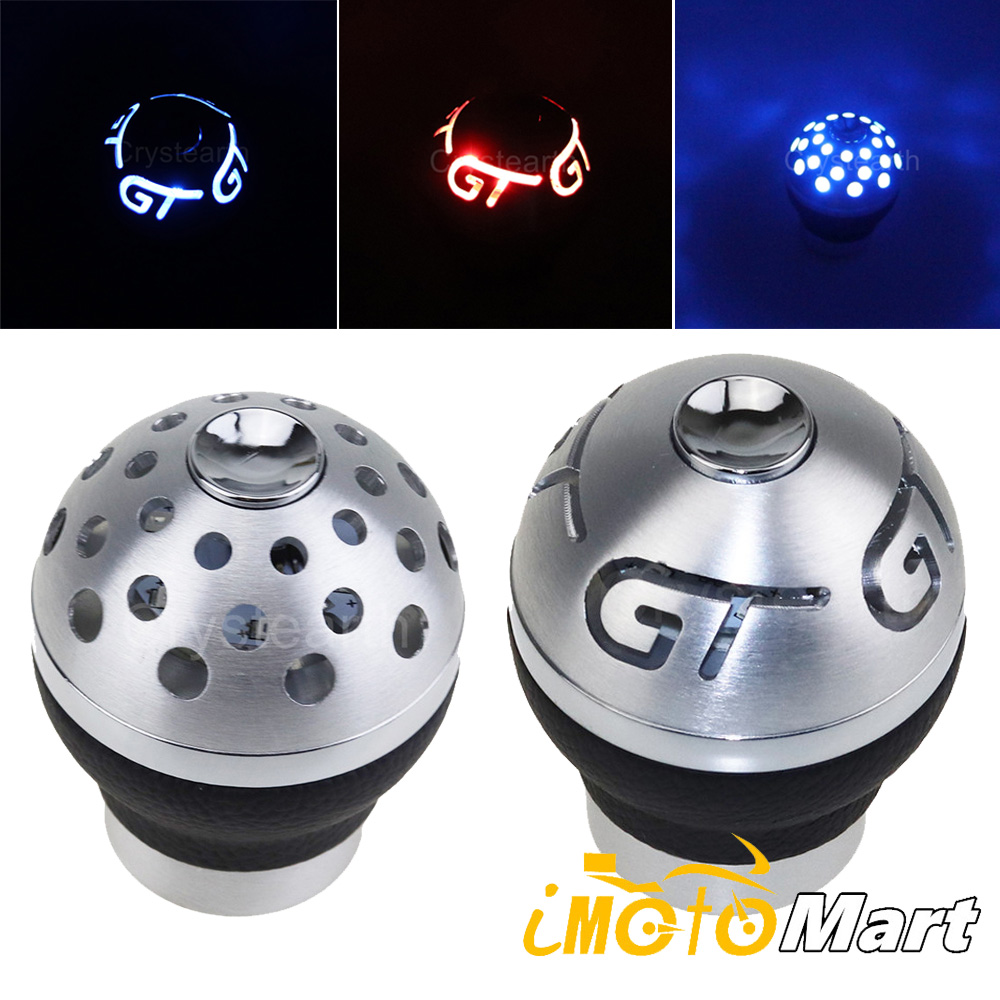 Universal Blue Red LED Light Gear Shift Knob Aluminum Car 5 6 Speed Manual Gearshift Shifter Lever For Peugeot Toyota Honda BMW image