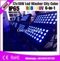 Новый dmx dj свет rgbwauv 72x108 ВТ 6в1 rgbwauv led настенная шайба открытый ip65 водонепроницаемый dmx Освещение цветной светодиодный светильник для городск...