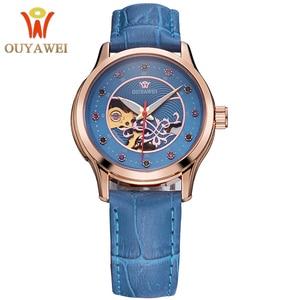 Image 5 - OUYAWEI montre bracelet en cuir pour femmes, mécanique automatique, avec cadran diamant, montre pour femme
