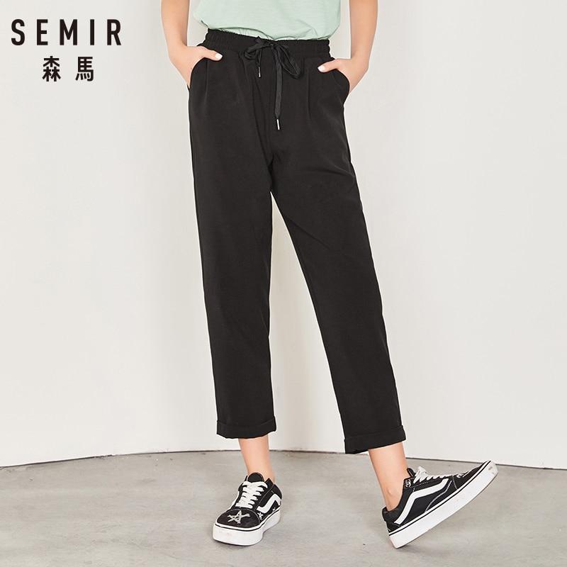 SEMIR Casual Pants Female 2018 Autumn Slim Loose Sweatpants For Women Wild Elastic Fashion Pants Real+Fake Pockets Trousers
